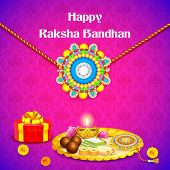 illustration of decorated thali with rakhi for Raksha Bandhan