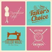 illustration of vintage style label for tailor emblem