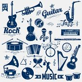 picture of trumpets  - illustration of retro music label in vintage look - JPG