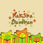 Beautiful greeting card design with stylish gift boxes on beige background for the occasion of Raksha Bandhan celebrations.