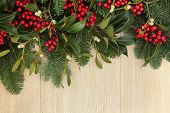 Holly, mistletoe and fir background border over oak wood.
