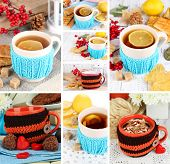 Collage of hot drinks