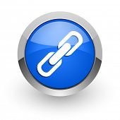 link blue glossy web icon