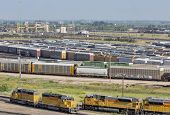 NORTH PLATTE, NEBRASKA, JULY 14, 2014:  Union Pacific's Bailey rail yard from Golden Spike Tower. The world's largest train yard is handling 10,000 cars each day.