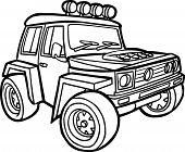 Cartoon off-road vehicle. Border