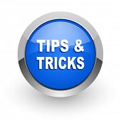 tips tricks blue glossy web icon