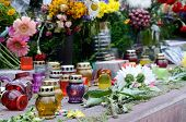 Memorial Candles Dedicated To Heaven Sotnia ,people Who Died Fighting For Freedom in Kiev