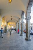 AREQUIPA, PERU, MAY 20, 2014 - Arcades on Plaza de Armas