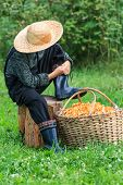 Boy iearing straw hat and chanterelles