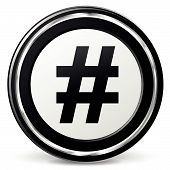 foto of hashtag  - Vector illustration of metal hashtag icon on white background - JPG