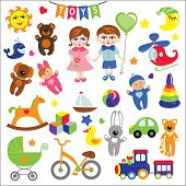 stock photo of twin baby girls  - A set of cute toys icons for little Baby  girl and boy - JPG
