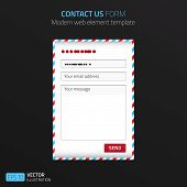 Modern Contact Us Form Template With Design Of Airmail