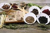 stock photo of hieroglyphic symbol  - Traditional chinese herbal medicine ingredients with not real hieroglyphs - JPG