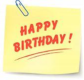 Vector Happy Birthday Note