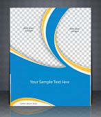 Vector layout flyer magazine cover or corporate design template advertisment blue color.
