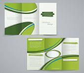 Three fold brochure template corporate flyer or cover design in green colors