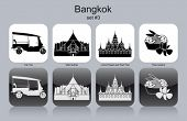 Landmarks of Bangkok. Set of monochrome icons. Editable vector illustration.