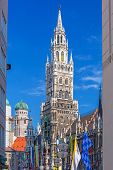 MUNICH, GERMANY - 19 JUNE 2014: The New Town Hall architecture in Munich, Germany. The New Town Hall