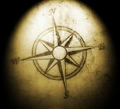 pic of cartographer  - vintage compass on old paper with stains - JPG