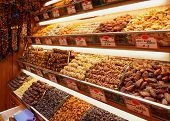 Dried fruits on food store shelf on asian market