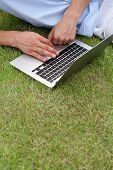 Cropped image of man using laptop on grass in park