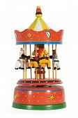 stock photo of carnival ride  - Colorful vintage red metal mechanical toy carousel or merry - JPG