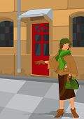 Retro Girl Near Red Door