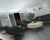 Modern lounge or waiting room interior with comfortable armchairs and a sofa around a low table, a p