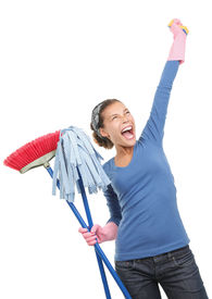 picture of house cleaning  - Woman done cleaning being very excited and happy - JPG
