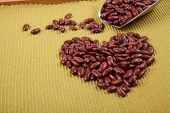 Heart Shape Of Red Kidney Beans With Scoop