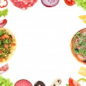 Tasty pizza and ingredients as frame with space for text