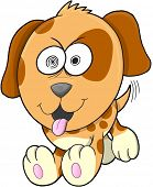 Crazy Puppy Dog Vector Illustration Art