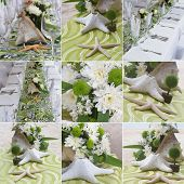 wedding decorations, wedding table for beach outdoor wedding ceremony in tropics, collage, set, collection