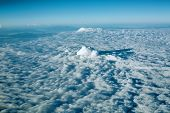 picture of stratus  - view colored clouds from an airplane at dawn - JPG
