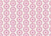 Red Lovely Bloom In Modern Shape Pattern On Pastel Background