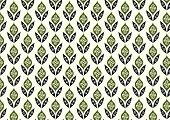 Dark Green Retro Flower And Leaves Pattern In Classic Style