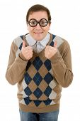 geek teacher going thumb up, isolated on white background