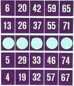 Purple Bingo Card Isolated
