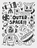 Space Elements Doodles Hand Drawn Line Icon, Eps10
