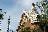 picture of gaudi barcelona  - Park Guell by Antonio Gaudi in Barcelona Spain - JPG