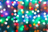 Blurred Christmas Illumination In Dark Night