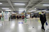 People Enter Shin-osaka Train Station In Osaka, Japan.