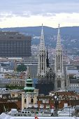 image of overpopulation  - Aerial view of the city of vienna with Votive Church - JPG
