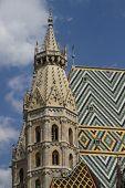 High Bell Tower Of St. Stephen's Church In Vienna, Austria