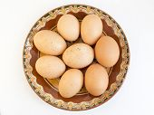 Eggs In Painted Ceramic Plate