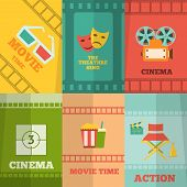 Cinema icons composition poster print