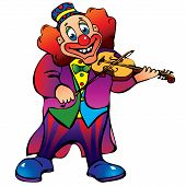 Clown with violin.