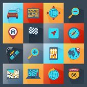 image of gps navigation  - Navigation icons route search gps guide flat set isolated vector illustration - JPG