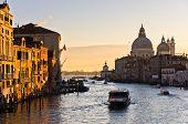 Grand Canal with Santa Maria della Salute at sunrise in Venice