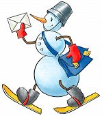 pic of postman  - Funny smiley snowman with letter and postman bag - JPG